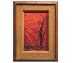 """""""Cast of the Sun"""" Early Small Abstract Textured Painting"""