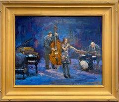 Blue Jazz, original impressionist figurative interior landscape