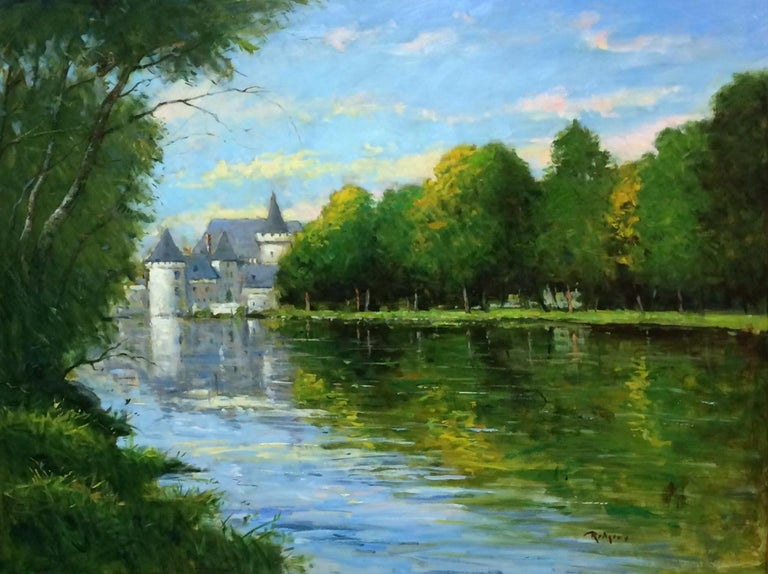 Loire Reflections, original French impressionistic landscape - Painting by Jim Rodgers