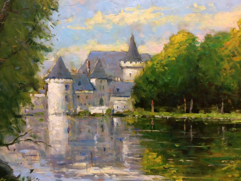 Loire Reflections, original French impressionistic landscape - Impressionist Painting by Jim Rodgers