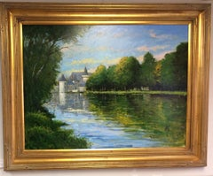 Loire Reflections, original 30x40 French impressionist landscape