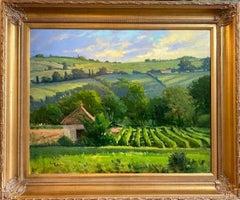 Morning Vineyard, Provence, original 24x30 French impressionist landscape