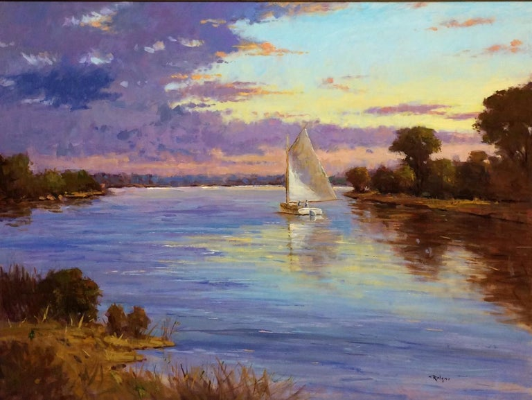 Quiet Evening Sail, original impressionist landscape - Painting by Jim Rodgers