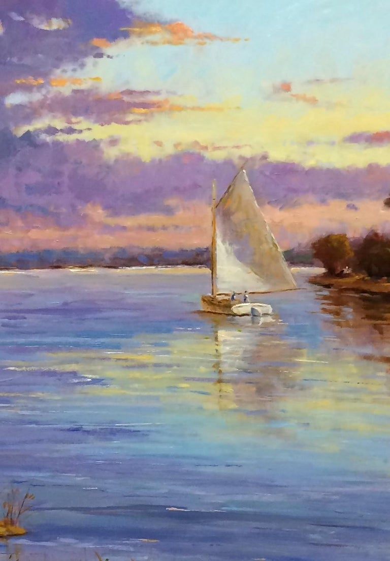 Quiet Evening Sail, original impressionist landscape - Gray Landscape Painting by Jim Rodgers