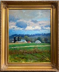 Spring Barns, Bucks County, original 30x24 impressionist landscape