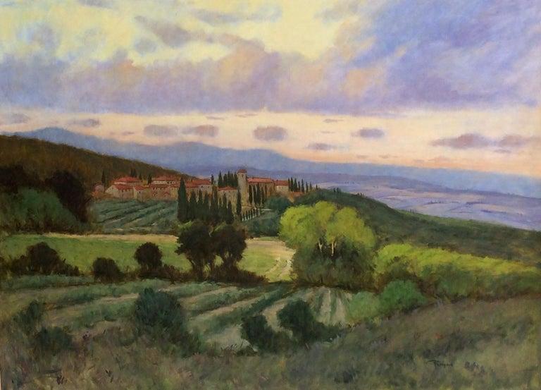 Tuscany, original 36x48 impressionist Italian landscape 1