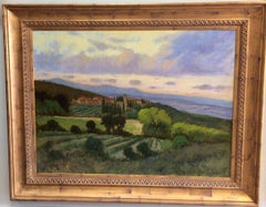 Tuscany, original 36x48 impressionist Italian landscape