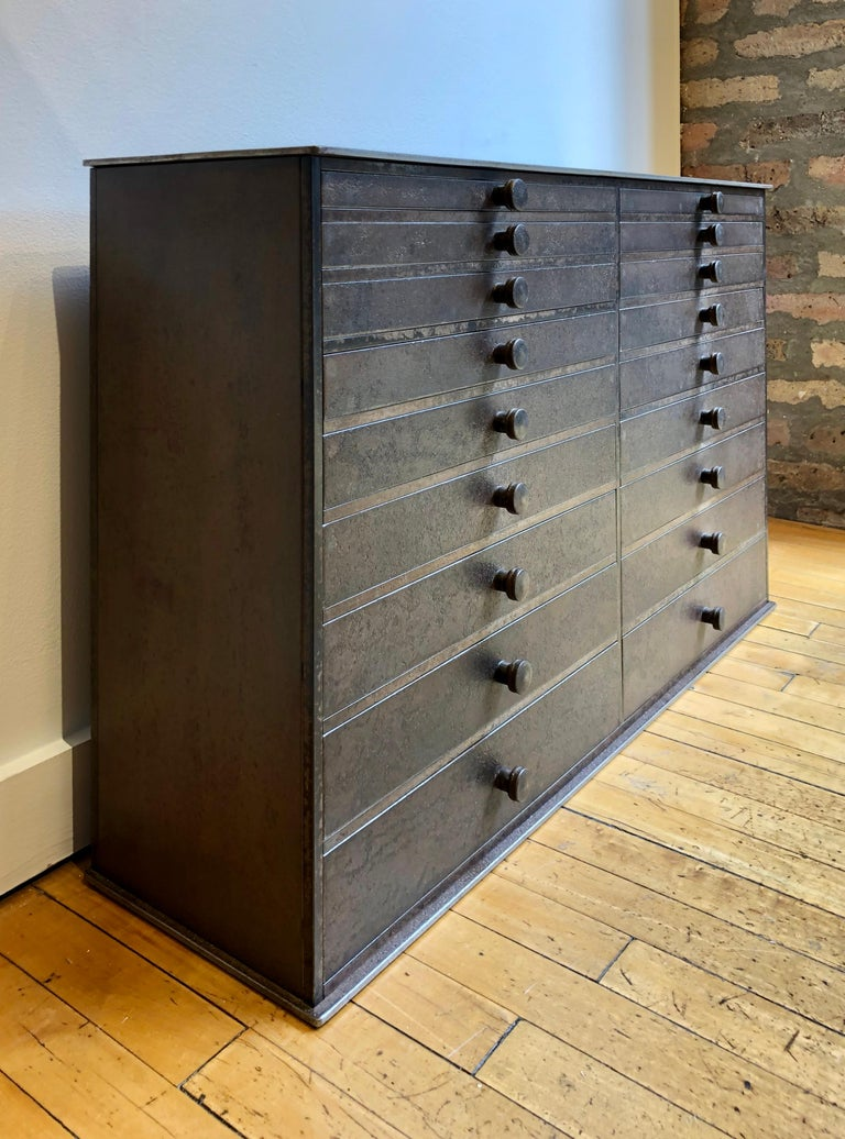 Folk Art Jim Rose Legacy Collection - 18 Drawer Shaker Inspired Steel Seed Cabinet For Sale