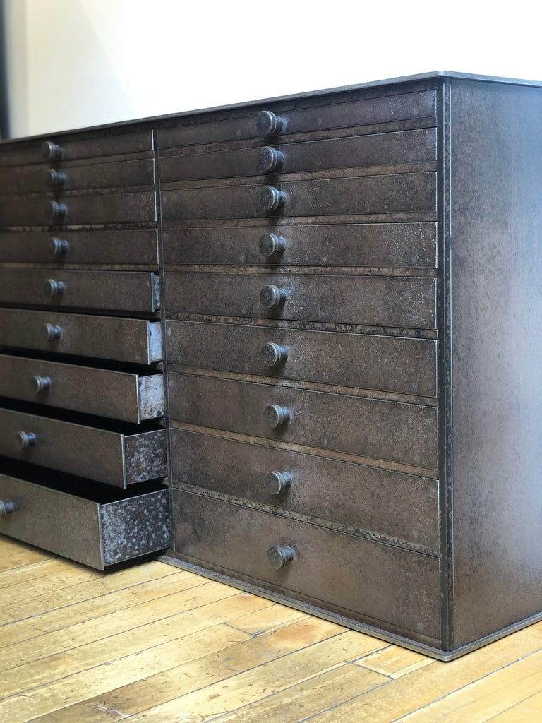 Welded Jim Rose Legacy Collection - 18 Drawer Shaker Inspired Steel Seed Cabinet For Sale