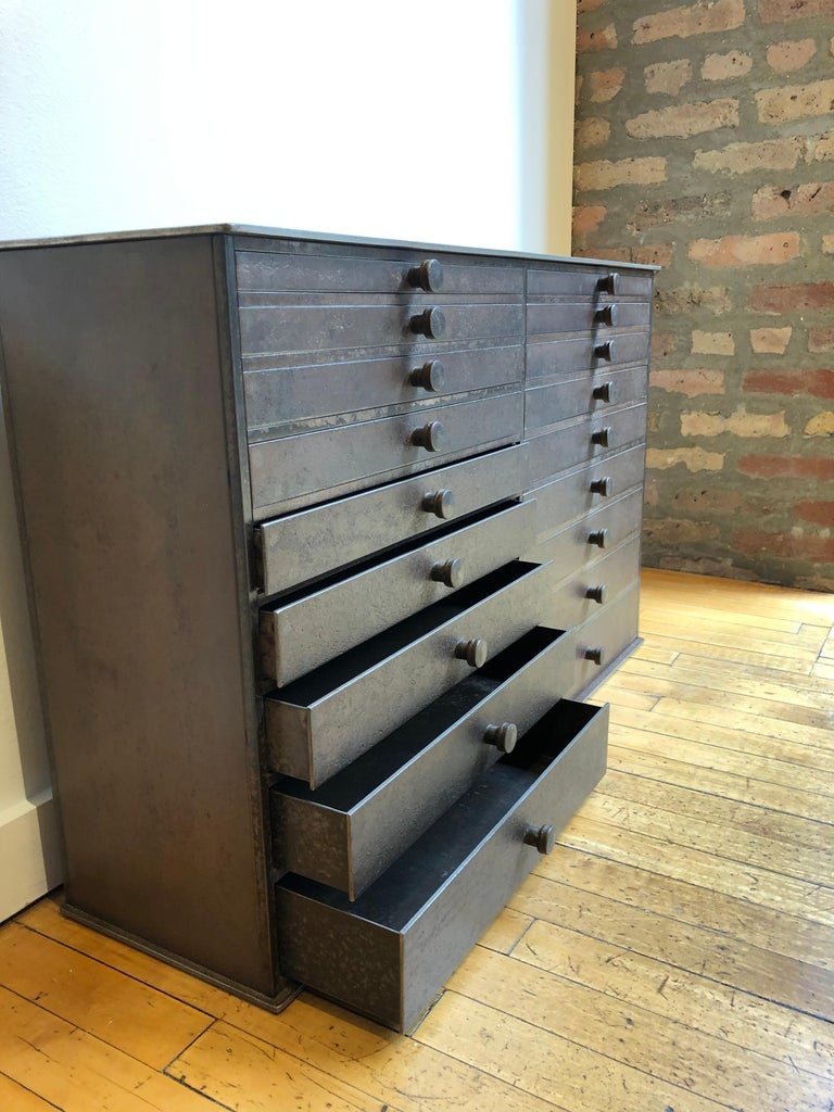 Late 20th Century Jim Rose Legacy Collection - 18 Drawer Shaker Inspired Steel Seed Cabinet For Sale