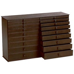 Jim Rose 18 Drawer Shaker Inspired Seed Cabinet, Found Steel Natural Rust Patina