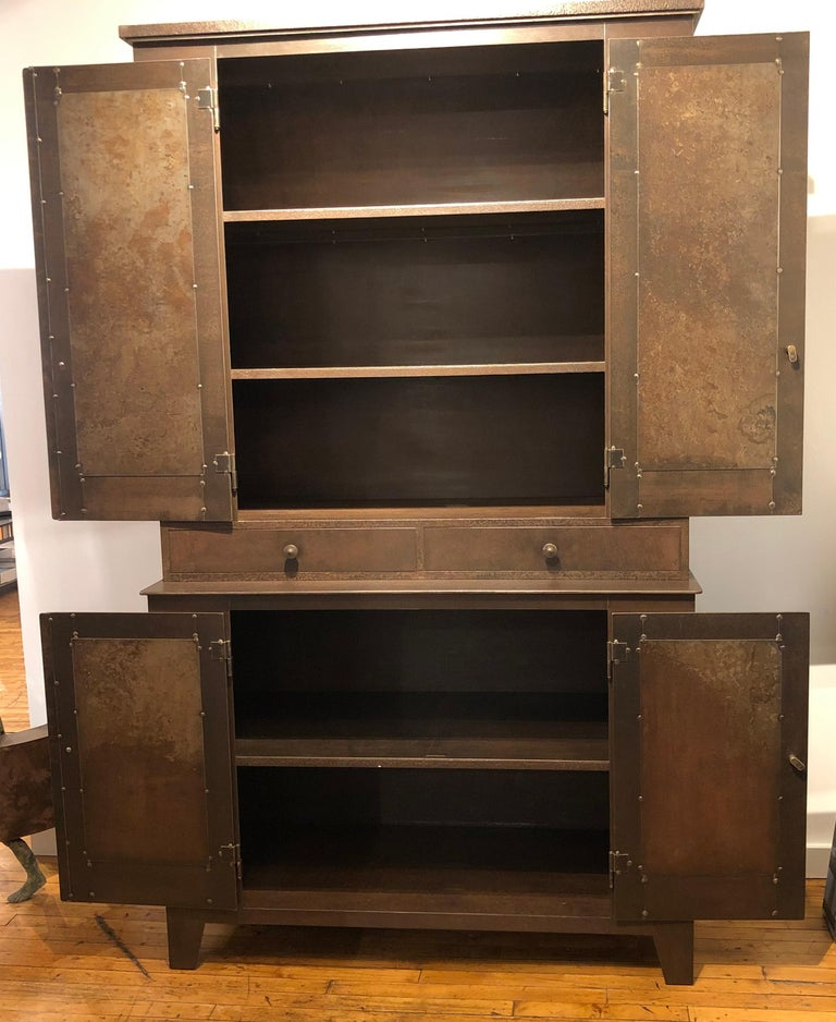 Jim Rose Legacy Collection - Four Door Two-Drawer Shaker Inspired Steel Cupboard In Excellent Condition For Sale In Chicago, IL