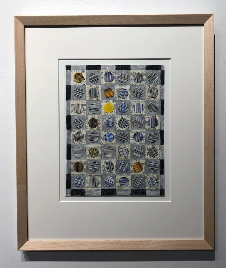 Barcode Snowball Pattern Study, Graphic Collage, Pencil, Printed Material Framed - Contemporary Mixed Media Art by Jim Rose