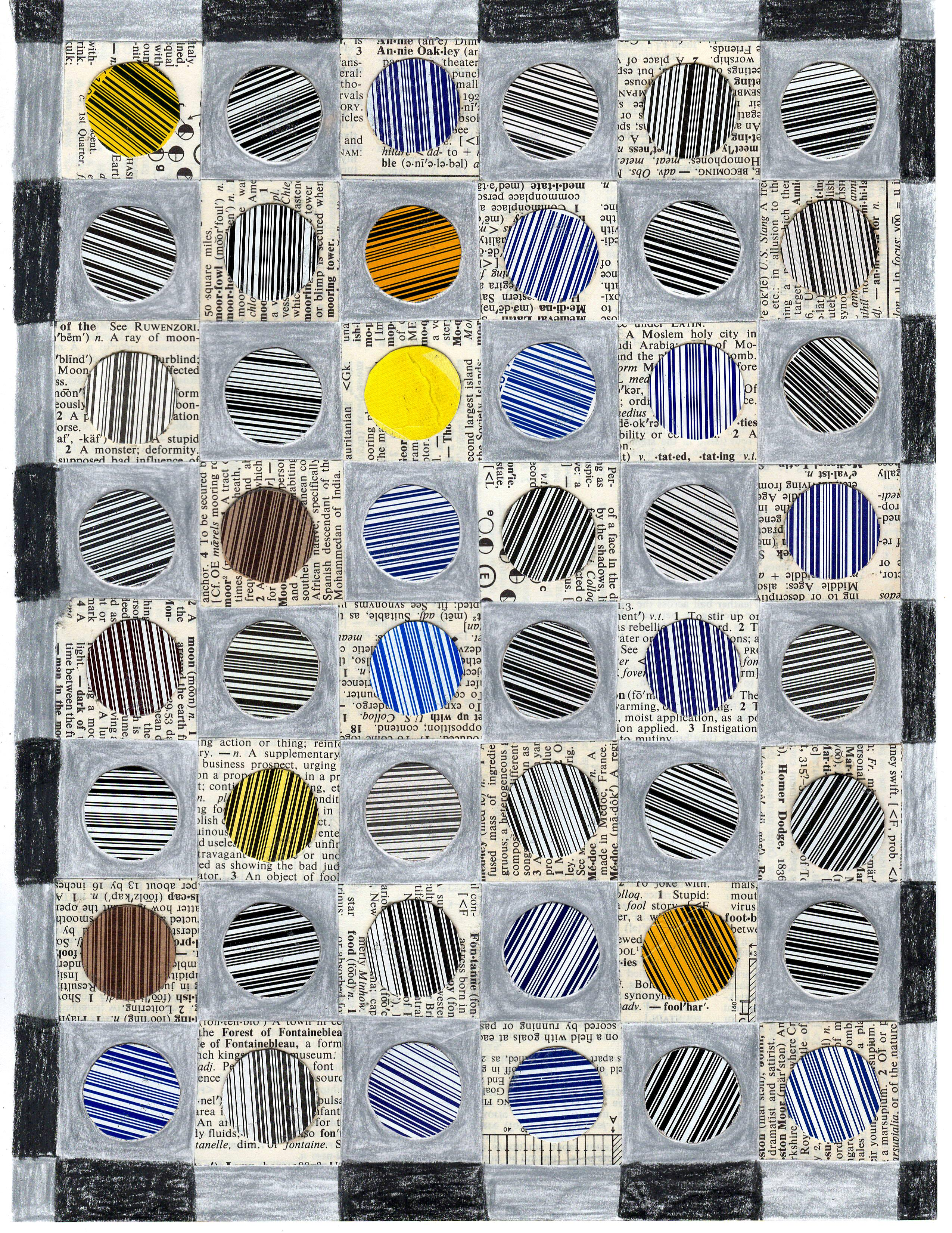 Barcode Snowball Pattern Study, Graphic Collage, Pencil, Printed Material Framed