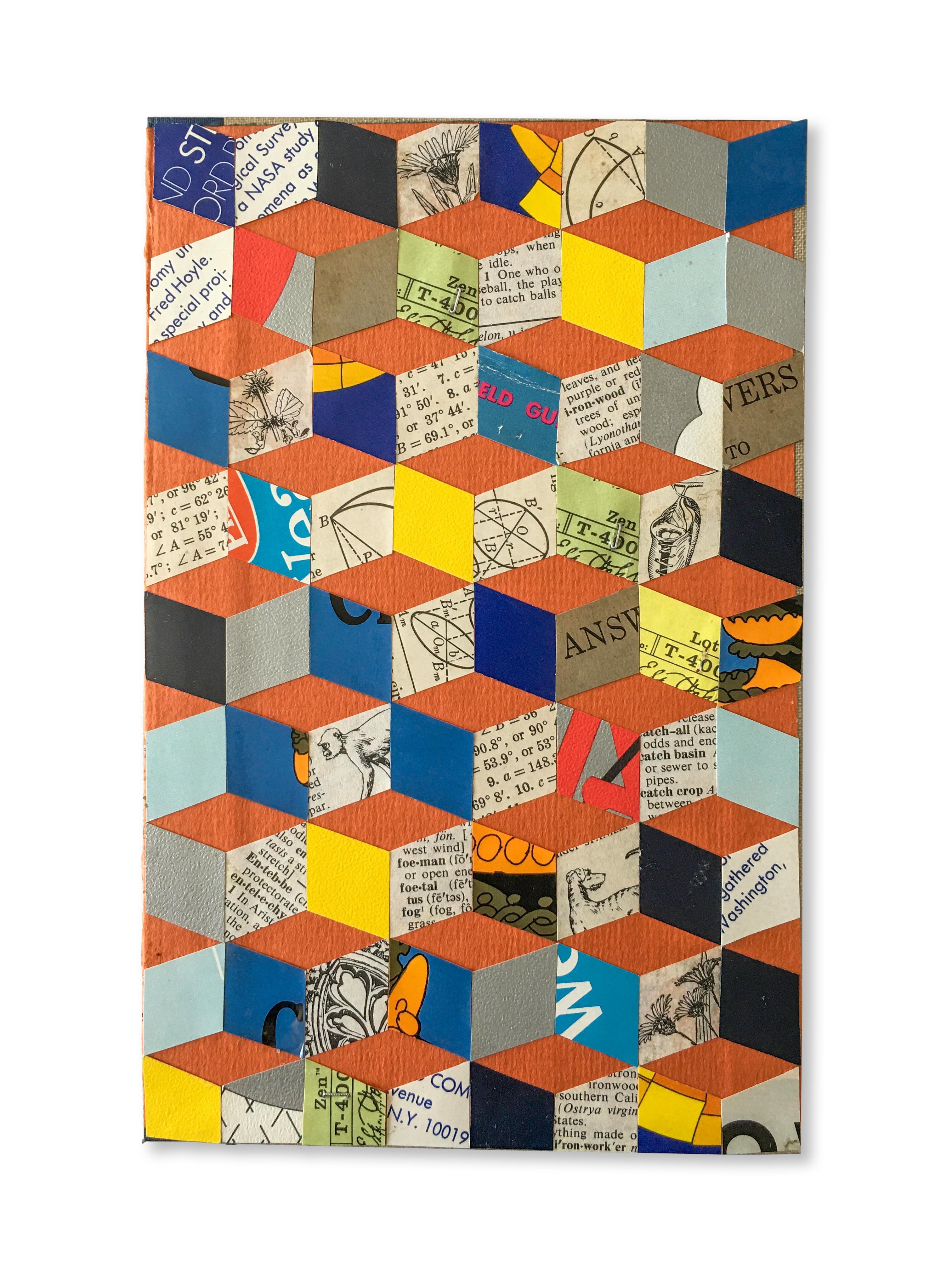 Collage No. 4, Graphic Collage, Vintage Ephemera, Found Paper, Matted, Framed