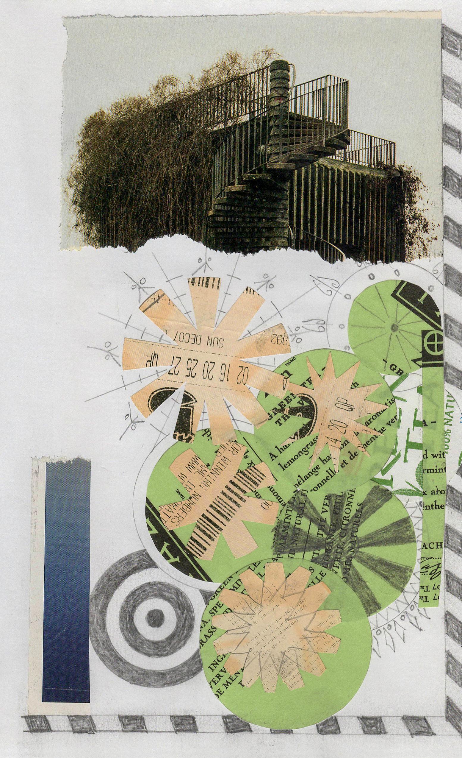 Collage No. 49, Graphic Collage, Vintage Ephemera, Matted, Framed