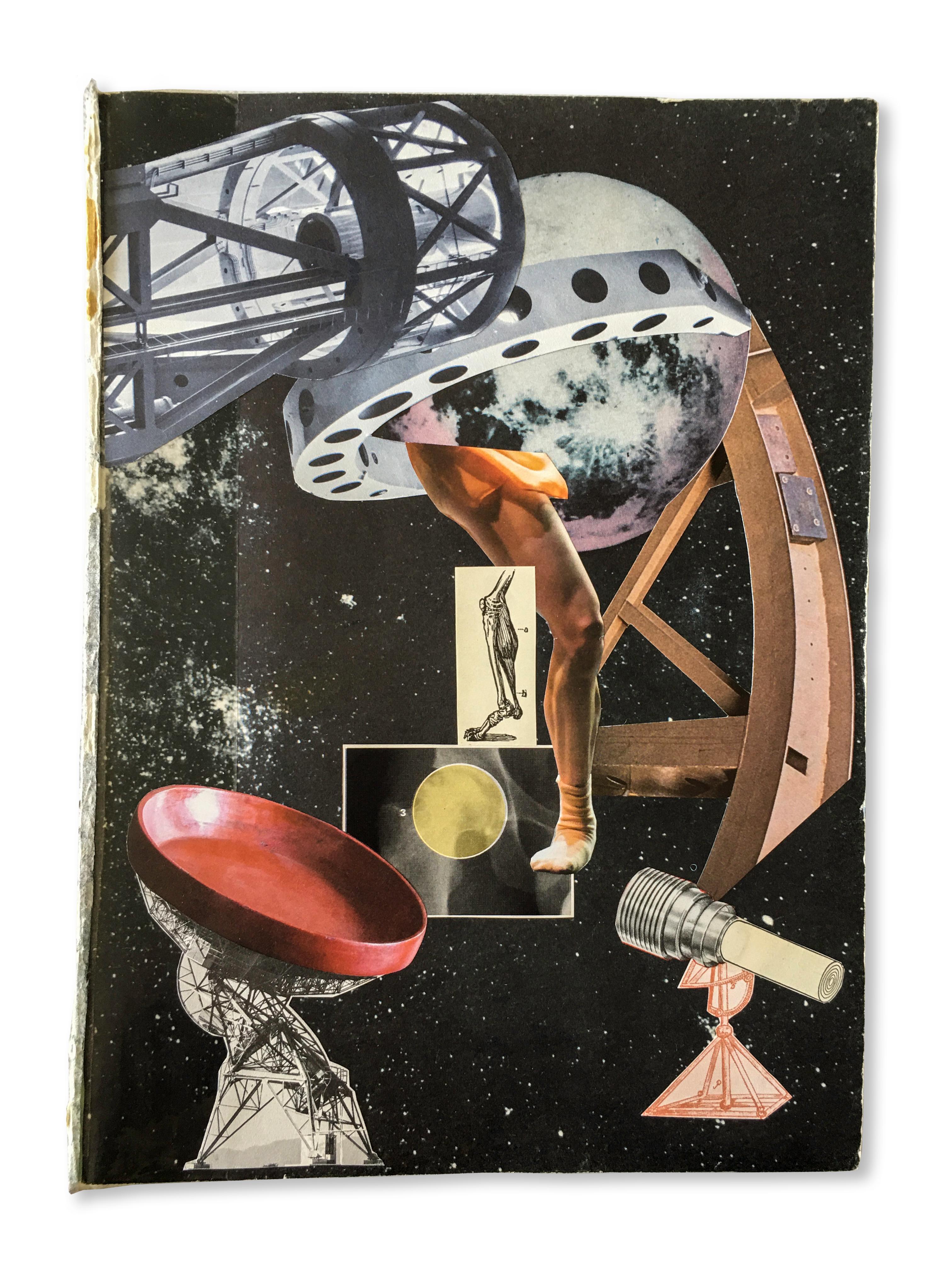Collage No. 5, Graphic Collage, Vintage Ephemera, Found Paper, Matted, Framed