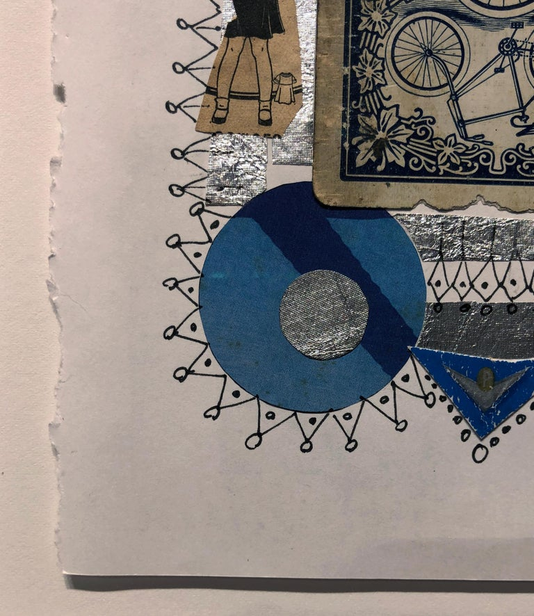 Collage No. 51, Graphic Collage with Vintage Ephemera, Matted and Framed For Sale 1