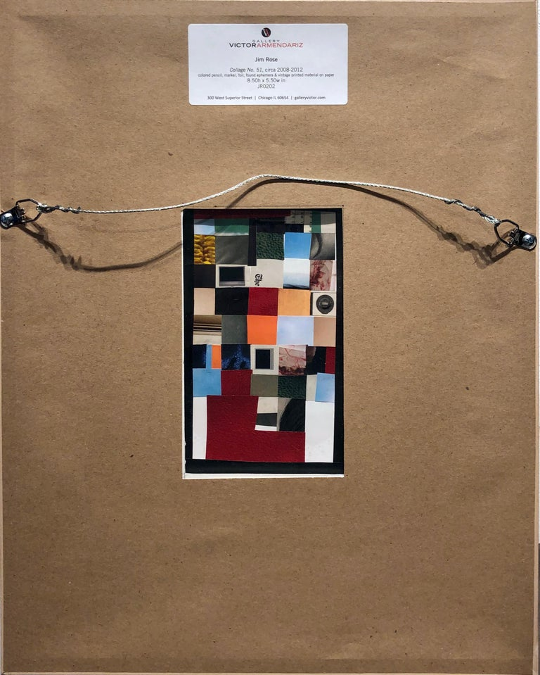 Collage No. 51, Graphic Collage with Vintage Ephemera, Matted and Framed For Sale 4