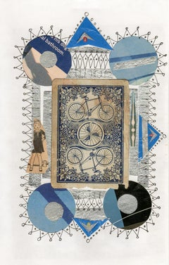 Collage No. 51, Drawing and Collage with Vintage Bicycle Card, Ephemera, Framed
