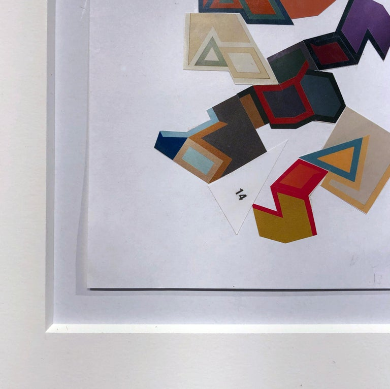 Collage No. 52, Graphic Collage Made From Printed Material, Matted & Framed - Beige Abstract Painting by Jim Rose