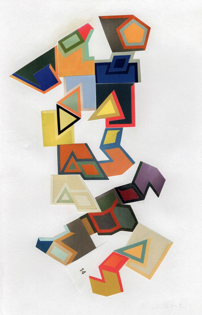 Jim Rose Abstract Painting - Collage No. 52, Graphic Collage Made From Printed Material, Matted & Framed