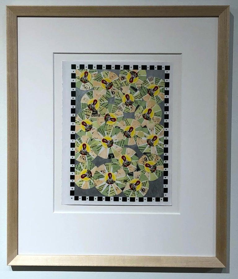 Its Raining Green Tea, Lottery & Raisins, Vintage Ephemera, Matted and Framed - Painting by Jim Rose