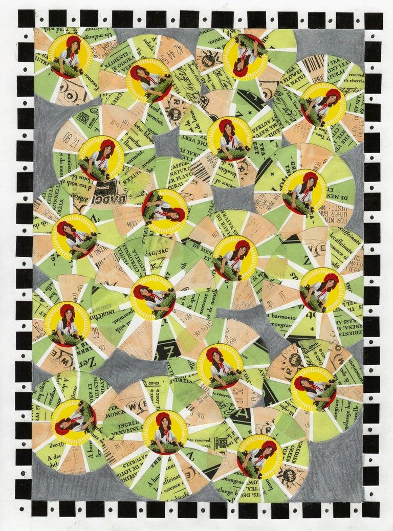 Jim Rose Abstract Painting - Its Raining Green Tea, Lottery & Raisins, Vintage Ephemera, Matted and Framed