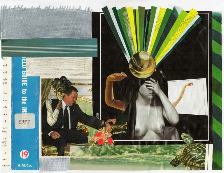 Looking and Seeing Graphic Collage made from Vintage Ephemera, Matted and Framed - Mixed Media Art by Jim Rose