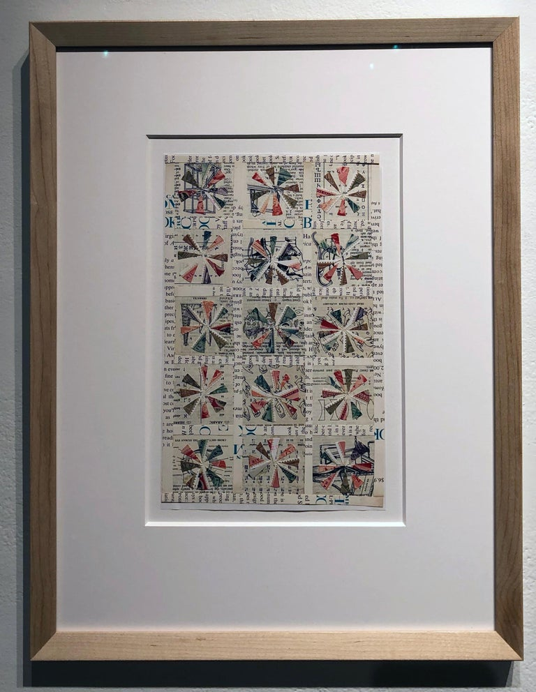 Quilt Pattern Study, Graphic Collage, Vintage Postage Stamps, Matted, Framed - Contemporary Mixed Media Art by Jim Rose