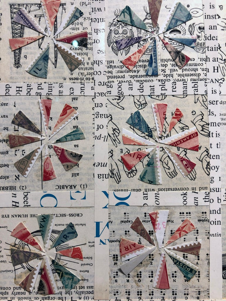 Quilt Pattern Study, Graphic Collage, Vintage Postage Stamps, Matted, Framed For Sale 1