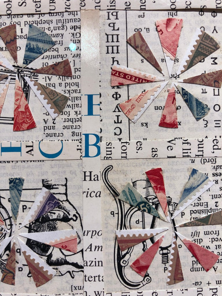 Quilt Pattern Study, Graphic Collage, Vintage Postage Stamps, Matted, Framed For Sale 2