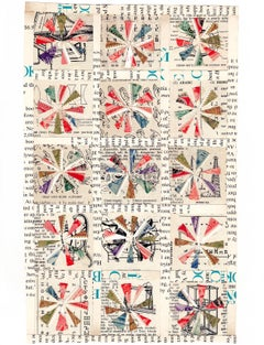 Quilt Pattern Study, Graphic Collage, Vintage Postage Stamps, Matted, Framed