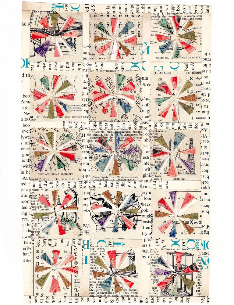 Quilt Pattern Study, Graphic Collage, Vintage Postage Stamps, Matted, Framed - Mixed Media Art by Jim Rose