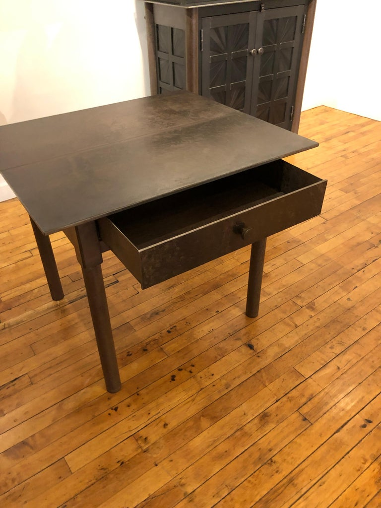 Mid-Century Modern Jim Rose One-Drawer Plank Top Side Table, Functional Art Steel Furniture For Sale