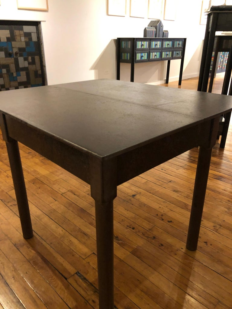 Jim Rose One-Drawer Plank Top Side Table, Functional Art Steel Furniture In Excellent Condition For Sale In Chicago, IL
