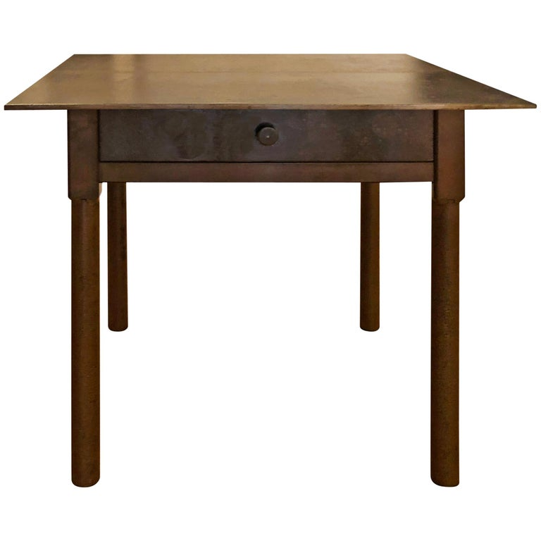 Jim Rose Legacy Collection - One-Drawer Plank Top Side Table, Steel Furniture For Sale