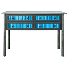 Jim Rose Steel Furniture - Four Drawer Gee's Bend Blue Strip Quilt Cupboard