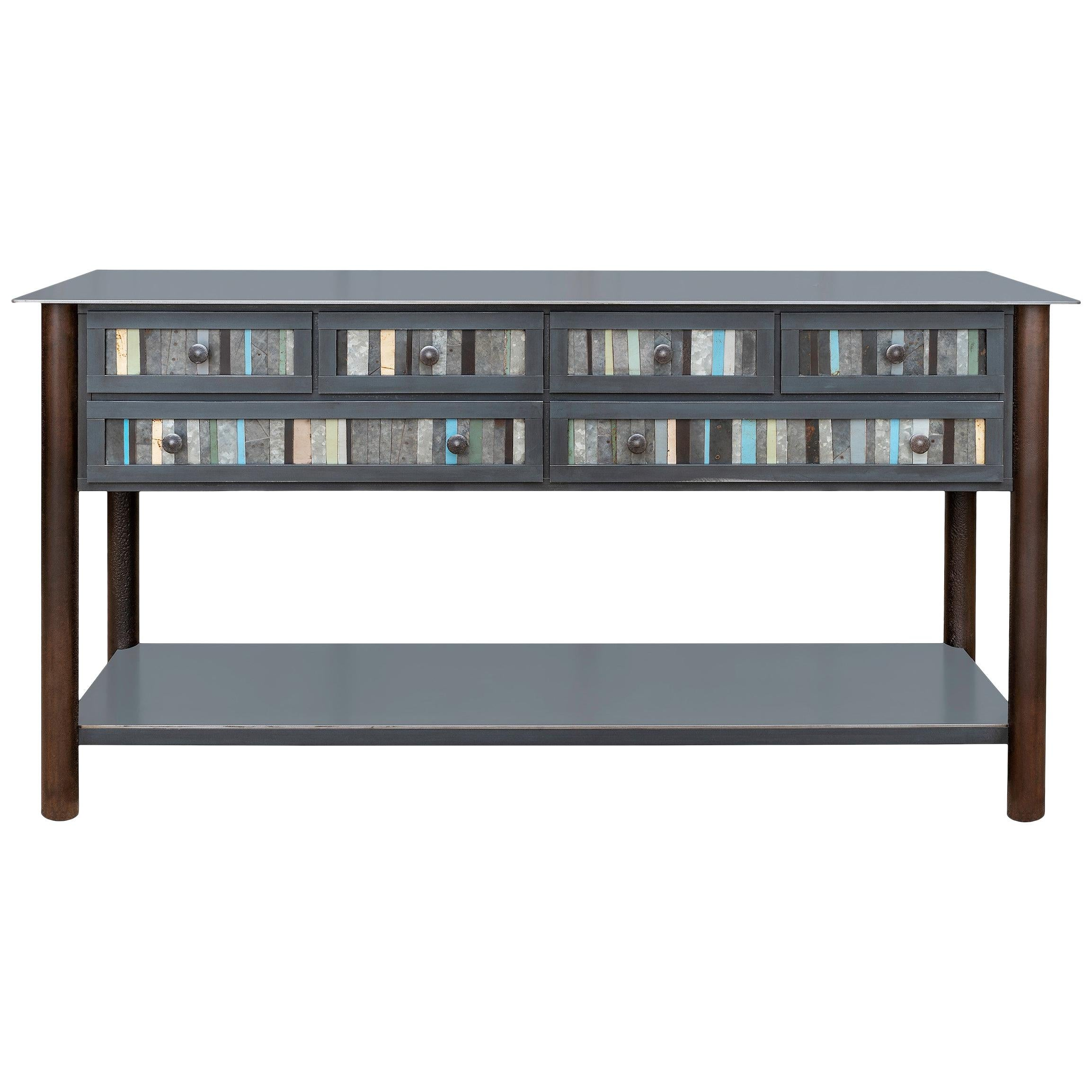Jim Rose Steel Furniture, Six-Drawer Strip Quilt Counter with Shelf