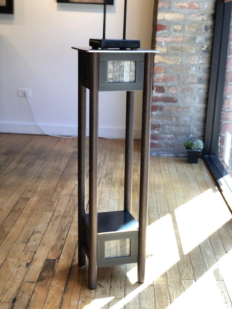 Mid-Century Modern Jim Rose Steel Pedestal, Welded Steel and Found Galvanized Steel with Shelf For Sale