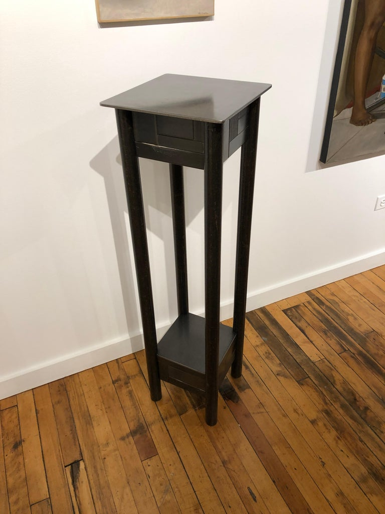 Mid-Century Modern Jim Rose Steel Pedestal, Welded Steel and Found Galvanized Steel with Shelf For Sale