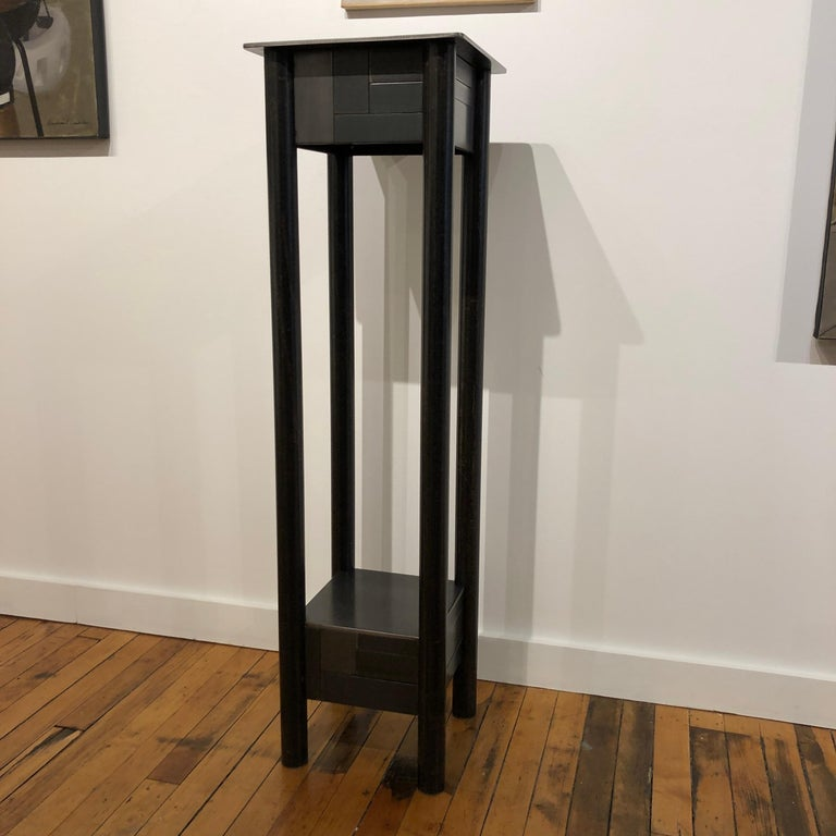 American Jim Rose Steel Pedestal, Welded Steel and Found Galvanized Steel with Shelf For Sale