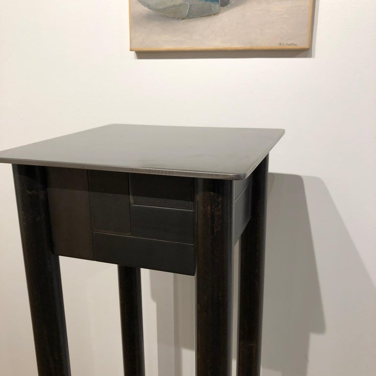 Jim Rose Steel Pedestal, Welded Steel and Found Galvanized Steel with Shelf In New Condition For Sale In Chicago, IL