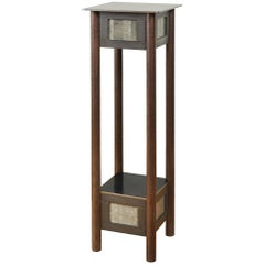 Jim Rose Steel Pedestal, Welded Steel and Found Galvanized Steel with Shelf