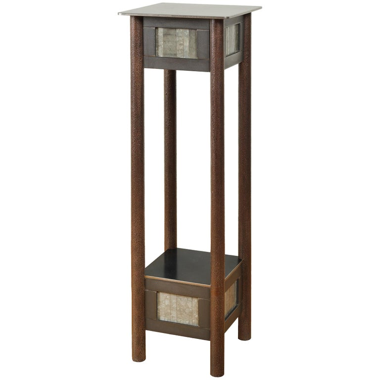 Jim Rose Steel Pedestal, Welded Steel and Found Galvanized Steel with Shelf For Sale