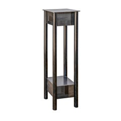 Jim Rose Steel Pedestal, Welded Steel with Shelf, Monochromatic Quilt Pattern
