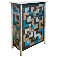 Jim Rose Two-Door Housetop Weave Multi-Color Steel Quilt Pattern Cupboard
