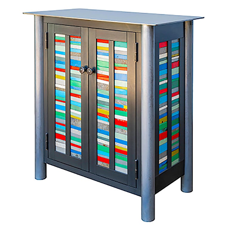Jim Rose Two-Door Strips Quilt Cupboard, Brightly Colored Steel Art Furniture For Sale