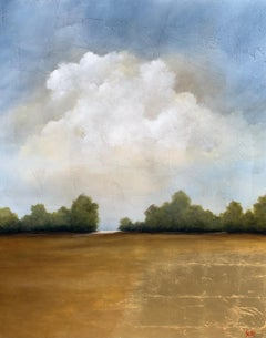 Fields of Gold by Jim Seitz, Large Vertical Minimalist Landscape Painting