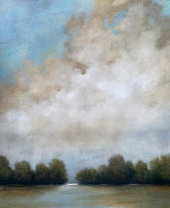 Summer Breeze From by Jim Seitz, Large Vertical Landscape Painting, Silver Leaf